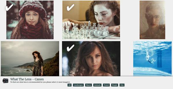 Сайт подскажет вам, какой объектив приобрести – просто выберите 20 снимков